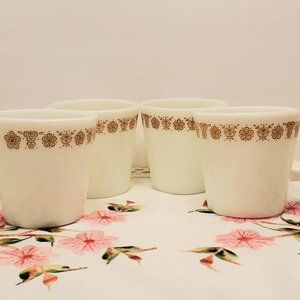 4 VTG Butterfly Gold Coffee/Tea MugsCups